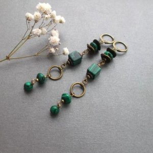 Shop Malachite Earrings! long malachite brass earrings, green malachite earrings dangle for women for girls gift idea for her | Natural genuine Malachite earrings. Buy crystal jewelry, handmade handcrafted artisan jewelry for women.  Unique handmade gift ideas. #jewelry #beadedearrings #beadedjewelry #gift #shopping #handmadejewelry #fashion #style #product #earrings #affiliate #ad