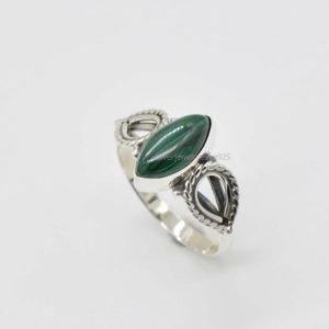 Shop Malachite Rings! Natural Malachite Ring | Handmade Silver Ring | Sterling Silver Rings | 6×12 mm Marquise Green Malachite Ring | Birthstone Ring | Gift Ring | Natural genuine Malachite rings, simple unique handcrafted gemstone rings. #rings #jewelry #shopping #gift #handmade #fashion #style #affiliate #ad