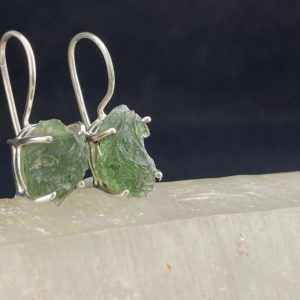 Shop Moldavite Earrings! Cheb: Rough Moldavite and Sterling Silver Drop Earrings (B-7) | Natural genuine Moldavite earrings. Buy crystal jewelry, handmade handcrafted artisan jewelry for women.  Unique handmade gift ideas. #jewelry #beadedearrings #beadedjewelry #gift #shopping #handmadejewelry #fashion #style #product #earrings #affiliate #ad