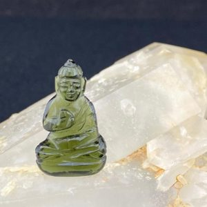 Shop Moldavite Stones & Crystals! Protection Buddha: Hand Carved Moldavite Totem / Talisman / Amulet / Figurine With Certificate of Authenticity (T31) | Natural genuine stones & crystals in various shapes & sizes. Buy raw cut, tumbled, or polished gemstones for making jewelry or crystal healing energy vibration raising reiki stones. #crystals #gemstones #crystalhealing #crystalsandgemstones #energyhealing #affiliate #ad