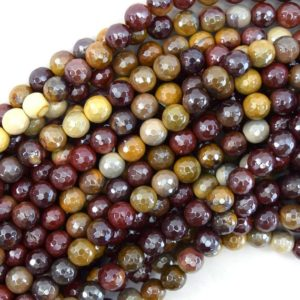 """Shop Mookaite Jasper Faceted Beads! Mystic Titanium Faceted Mookaite Round Beads 15"""" Strand Mookite 6mm 8mm 10mm 