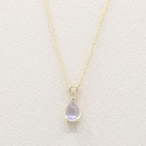 Shop Moonstone Necklaces! Pear Moonstone Necklace.AAA Natural Moonstone.Solid 14k Rose,White, Yellow Gold Necklace.14k Solitaire Necklace.Simple Necklace. | Natural genuine Moonstone necklaces. Buy crystal jewelry, handmade handcrafted artisan jewelry for women.  Unique handmade gift ideas. #jewelry #beadednecklaces #beadedjewelry #gift #shopping #handmadejewelry #fashion #style #product #necklaces #affiliate #ad