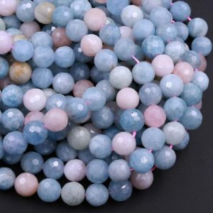 """Shop Morganite Faceted Beads! Micro Faceted Natural Blue Aquamarine Pink Morganite Round Beads 6mm 8mm 10mm 12mm 15.5"""" Strand 