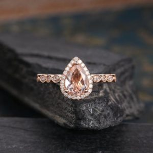 Art Deco Morganite Engagement Ring Rose Gold Pear Shaped Diamond Half Eternity Tear Drop Anniversary Gift Women Antique Halo Dainty Ring | Natural genuine Array rings, simple unique alternative gemstone engagement rings. #rings #jewelry #bridal #wedding #jewelryaccessories #engagementrings #weddingideas #affiliate #ad