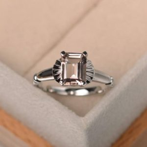 emerald cut,solitaire ring,natural pink morganite ring,engagement ring,gemstone ring,sterling silver ring | Natural genuine Array rings, simple unique alternative gemstone engagement rings. #rings #jewelry #bridal #wedding #jewelryaccessories #engagementrings #weddingideas #affiliate #ad