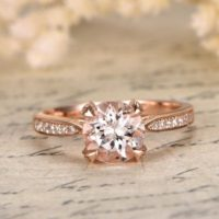 Morganite Ring, Engagement Ring Rose Gold Morganite, 14k Solid Gold, solitaire Ring, wedding Band Women, rose Gold Ring, diamond Engagement Ring | Natural genuine Gemstone jewelry. Buy handcrafted artisan wedding jewelry.  Unique handmade bridal jewelry gift ideas. #jewelry #beadedjewelry #gift #crystaljewelry #shopping #handmadejewelry #wedding #bridal #jewelry #affiliate #ad