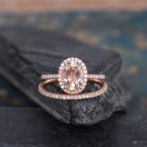 Morganite Engagement Ring Rose Gold Bridal Set 2pcs Halo Diamond Oval Cut Eternity Wedding Band Anniversary Gift For Women Half Eternity | Natural genuine Array rings, simple unique alternative gemstone engagement rings. #rings #jewelry #bridal #wedding #jewelryaccessories #engagementrings #weddingideas #affiliate #ad