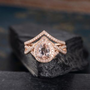 Rose Gold Morganite Bridal Set Engagement Ring Pear Shaped Halo Ring Diamond Half Eternity Infinity Band Women Tear Drop Anniversary 2 Pcs | Natural genuine Array rings, simple unique alternative gemstone engagement rings. #rings #jewelry #bridal #wedding #jewelryaccessories #engagementrings #weddingideas #affiliate #ad