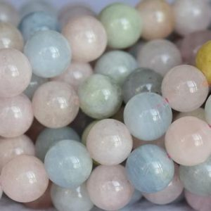 """Shop Morganite Round Beads! 15.5"""" 8mm / 10mm Natural Morganite Multi Color Round Beads, A Grade, Blue Green Pink Semi-precious Stone, Milky Multi Color Gemstone, ygyo 