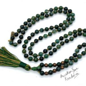 Shop Moss Agate Necklaces! AAA Grade 108 Genuine Green Moss Agate Mala Beads Necklace, 108 Japa Mala Beads, Heart Chakra Mala, Healing Crystals, Moss Agate Jewelry | Natural genuine Moss Agate necklaces. Buy crystal jewelry, handmade handcrafted artisan jewelry for women.  Unique handmade gift ideas. #jewelry #beadednecklaces #beadedjewelry #gift #shopping #handmadejewelry #fashion #style #product #necklaces #affiliate #ad