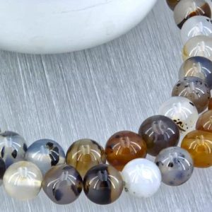 Shop Moss Agate Necklaces! Montana Moss Agate round beads 10.5-12.5mm (ETB01119) Unique jewelry/Vintage jewelry/Gemstone necklace | Natural genuine Moss Agate necklaces. Buy crystal jewelry, handmade handcrafted artisan jewelry for women.  Unique handmade gift ideas. #jewelry #beadednecklaces #beadedjewelry #gift #shopping #handmadejewelry #fashion #style #product #necklaces #affiliate #ad