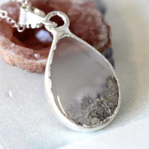 Shop Moss Agate Pendants! Moss Agate Necklace – Silver and Stone Pendant – Sterling Silver Chain – Pear Shaped Pendant | Natural genuine Moss Agate pendants. Buy crystal jewelry, handmade handcrafted artisan jewelry for women.  Unique handmade gift ideas. #jewelry #beadedpendants #beadedjewelry #gift #shopping #handmadejewelry #fashion #style #product #pendants #affiliate #ad