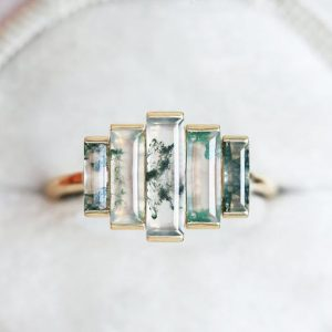 Shop Moss Agate Jewelry! Art deco Engagement Ring, Art deco Moss Agate Ring, Baguette Moss agate Engagement ring, Unique ooak engagement ring | Natural genuine Moss Agate jewelry. Buy handcrafted artisan wedding jewelry.  Unique handmade bridal jewelry gift ideas. #jewelry #beadedjewelry #gift #crystaljewelry #shopping #handmadejewelry #wedding #bridal #jewelry #affiliate #ad