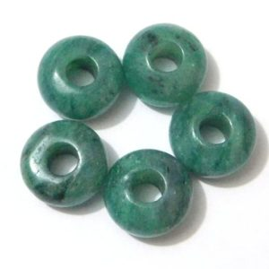 Shop Beads With Large Holes! Natural Green Aquamarine Gemstone European Handmade Smooth Rondelle Big Hole Beads Large Hole Beads 8x14mm 5mm Hole 5 Pieces OK-82 | Shop jewelry making and beading supplies, tools & findings for DIY jewelry making and crafts. #jewelrymaking #diyjewelry #jewelrycrafts #jewelrysupplies #beading #affiliate #ad