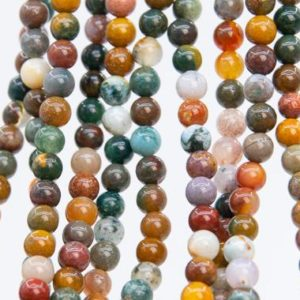 Shop Ocean Jasper Round Beads! Genuine Natural Multicolor Ocean Jasper Loose Beads Round Shape 4mm | Natural genuine round Ocean Jasper beads for beading and jewelry making.  #jewelry #beads #beadedjewelry #diyjewelry #jewelrymaking #beadstore #beading #affiliate #ad