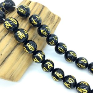 Om Black Onyx Beads, Carved Om Mandra Beads 6MM 8MM 10MM, Black Om Mala Beads,Gemstone Om Mani Padme Hum Spacer Beads, Tibetan Focal Beads | Natural genuine other-shape Gemstone beads for beading and jewelry making.  #jewelry #beads #beadedjewelry #diyjewelry #jewelrymaking #beadstore #beading #affiliate #ad