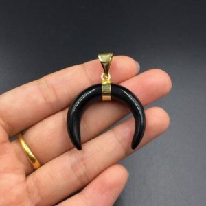 Shop Onyx Pendants! Black Onyx Horn Pendant Crescent Moon Pendant Onyx Double Horn Pendant Wholesale Bull Horn Shaped Charm Pendant 3-10pcs | Natural genuine Onyx pendants. Buy crystal jewelry, handmade handcrafted artisan jewelry for women.  Unique handmade gift ideas. #jewelry #beadedpendants #beadedjewelry #gift #shopping #handmadejewelry #fashion #style #product #pendants #affiliate #ad