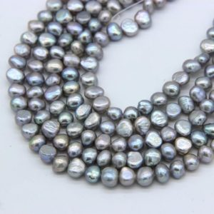 Shop Freshwater Pearls! 7-8mm Gray Baroque Freshwater Pearl Beads Gray Nugget Cultured Pearl Genuine Baroque Pearl Good Luster Gray Pearl Bracelet Necklace Supplies | Natural genuine beads Pearl beads for beading and jewelry making.  #jewelry #beads #beadedjewelry #diyjewelry #jewelrymaking #beadstore #beading #affiliate #ad