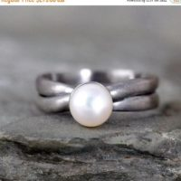 November Savings Fresh Water Pearl Ring – Sterling Silver – Matte Oxidized – June Birthstone Rings – Statement Ring – Cocktail Ring – White | Natural genuine Gemstone jewelry. Buy crystal jewelry, handmade handcrafted artisan jewelry for women.  Unique handmade gift ideas. #jewelry #beadedjewelry #beadedjewelry #gift #shopping #handmadejewelry #fashion #style #product #jewelry #affiliate #ad
