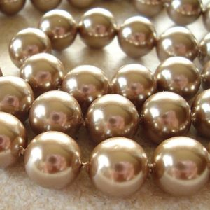 Shell Pearl Beads 8mm Lustrous Bronze Brown Smooth Rounds – 8 Pieces | Natural genuine beads Gemstone beads for beading and jewelry making.  #jewelry #beads #beadedjewelry #diyjewelry #jewelrymaking #beadstore #beading #affiliate #ad