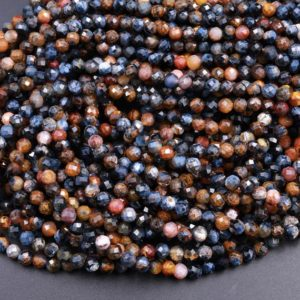 """Genuine African Pietersite Faceted 2mm 3mm 4mm Round Beads Natural Brown Gold Blue Gemstone from Namibia South Africa 15.5"""" Strand 