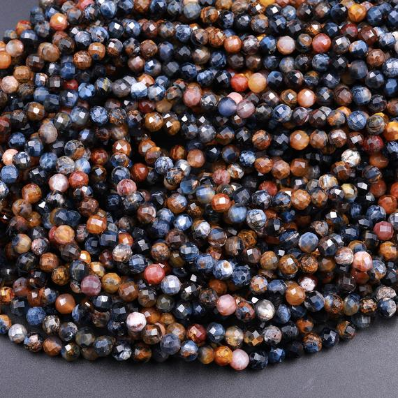 """Genuine African Pietersite Faceted 2mm 3mm 4mm Round Beads Natural Brown Gold Blue Gemstone From Namibia South Africa 15.5"""" Strand"""