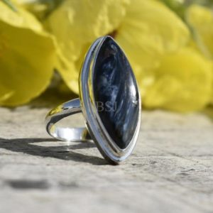 Shop Pietersite Rings! Silver Pietersite Ring, 925 Sterling Silver, Marquise Shape, Blue Color Stone, Simple Ring, Handmade Silver Gift Ring, Gemstone Gift, Sale | Natural genuine Pietersite rings, simple unique handcrafted gemstone rings. #rings #jewelry #shopping #gift #handmade #fashion #style #affiliate #ad