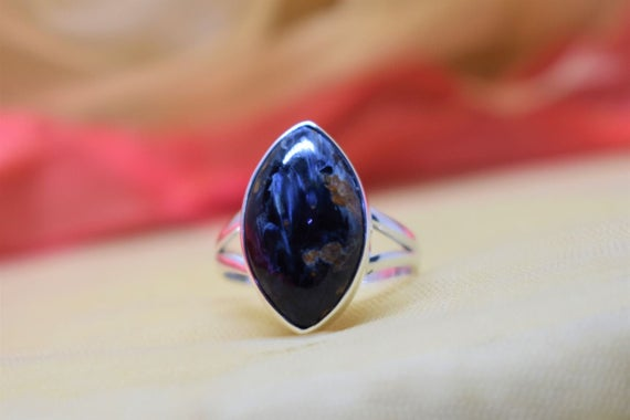 Simple Pietersite Ring, Marquise Stone Ring, Blue Gemstone Ring, Stackable Ring, Delicate Ring, Handmade Pietersite Ring,can Be Personalized