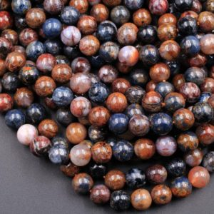 "Natural Pietersite 4mm 6mm 8mm 10mm 12mm 14mm 16mm 18mm Round Beads 15.5"" Strand 