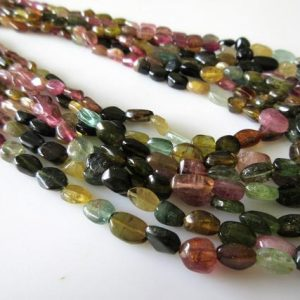 Multi Layered Tourmaline Necklace, Green Pink Tourmaline Smooth Oval Beads, 5mm To 9mm Each, 7 Strands 16-20 Inches, GDS41 | Natural genuine other-shape Gemstone beads for beading and jewelry making.  #jewelry #beads #beadedjewelry #diyjewelry #jewelrymaking #beadstore #beading #affiliate #ad