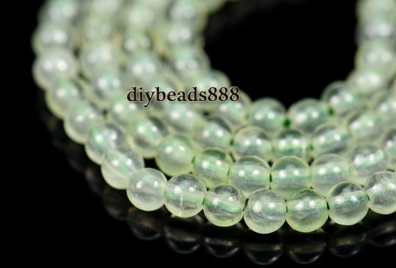 Prehnite,15 Inch Full Strand Natural Green Prehnite Smooth Round Beads 2mm 3mm For Choice