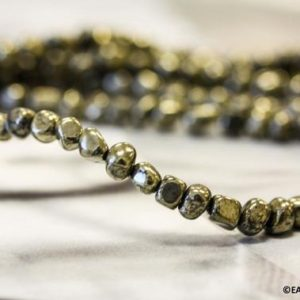"Shop Pyrite Chip & Nugget Beads! S-M/ Pyrite 5mm/ 7mm Tumbled Nugget beads 16"" strand Size varies Hand Cut beads Small size freeform beads for jewelry making 