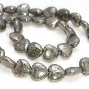 Shop Pyrite Bead Shapes! 12mm Palazzo Iron Pyrite Gemstone Puffed Love Heart 12mm Loose Beads 15.5 inch  Full Strand (90144942-404) | Natural genuine other-shape Pyrite beads for beading and jewelry making.  #jewelry #beads #beadedjewelry #diyjewelry #jewelrymaking #beadstore #beading #affiliate #ad