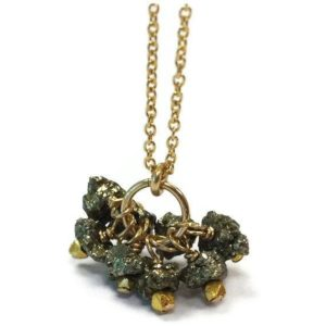 Shop Pyrite Pendants! Pyrite Necklace – Fools Gold Jewelry – Cluster Pendant – Gemstone Jewellery – Fashion – Chain N-215 | Natural genuine Pyrite pendants. Buy crystal jewelry, handmade handcrafted artisan jewelry for women.  Unique handmade gift ideas. #jewelry #beadedpendants #beadedjewelry #gift #shopping #handmadejewelry #fashion #style #product #pendants #affiliate #ad