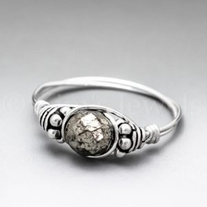 Shop Pyrite Rings! Pyrite Fools Gold Faceted Bali Sterling Silver Wire Wrapped Gemstone Bead Ring – Made To Order, Ships Fast! | Natural genuine Pyrite rings, simple unique handcrafted gemstone rings. #rings #jewelry #shopping #gift #handmade #fashion #style #affiliate #ad