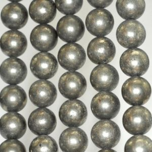 Shop Pyrite Round Beads! 10mm Iron Pyrite Gemstone Round Loose Beads 15.5 inch Full Strand (90188996-B80) | Natural genuine round Pyrite beads for beading and jewelry making.  #jewelry #beads #beadedjewelry #diyjewelry #jewelrymaking #beadstore #beading #affiliate #ad