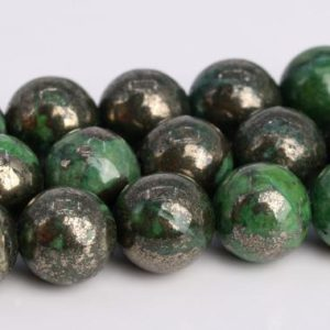 """Shop Pyrite Round Beads! 6MM Grass Green Pyrite Beads Grade AAA Natural Gemstone Round Loose Beads 15.5"""" / 7.5"""" Bulk Lot Options(104598) 