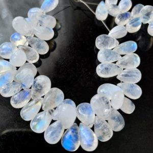 Shop Briolette Beads! Rainbow Moonstone briolette pears | Natural genuine other-shape Gemstone beads for beading and jewelry making.  #jewelry #beads #beadedjewelry #diyjewelry #jewelrymaking #beadstore #beading #affiliate #ad