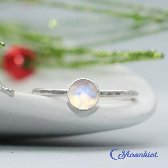Rainbow Moonstone Promise Ring, Sterling Silver Moonstone Gemstone Ring, Round Stacking Ring, Gift For Her   Moonkist Designs
