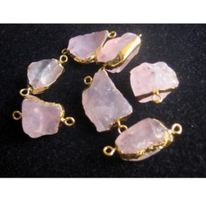 Shop Rose Quartz Chip & Nugget Beads! Raw Rose Quartz Connectors, Raw Gemstone Connectors, Natural Rose Quartz Crystal, Rose Quartz Rough, 5 Pieces, 22mm To 28mm Approx | Natural genuine chip Rose Quartz beads for beading and jewelry making.  #jewelry #beads #beadedjewelry #diyjewelry #jewelrymaking #beadstore #beading #affiliate #ad