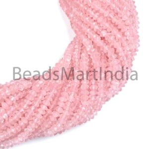 Shop Rose Quartz Faceted Beads! Rose Quartz Faceted Rondelle Beads, Natural Faceted Beads, Faceted Rondelle Beads, AA Quality Rose Quartz, Rose Quartz Wholesale Lot | Natural genuine faceted Rose Quartz beads for beading and jewelry making.  #jewelry #beads #beadedjewelry #diyjewelry #jewelrymaking #beadstore #beading #affiliate #ad