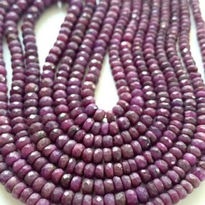 Shop Ruby Rondelle Beads! 1/2 strand ruby rondelles | Natural genuine rondelle Ruby beads for beading and jewelry making.  #jewelry #beads #beadedjewelry #diyjewelry #jewelrymaking #beadstore #beading #affiliate #ad