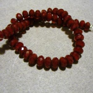 Shop Ruby Rondelle Beads! Crystal Beads Ruby Red Rondelle 6x4mm | Natural genuine rondelle Ruby beads for beading and jewelry making.  #jewelry #beads #beadedjewelry #diyjewelry #jewelrymaking #beadstore #beading #affiliate #ad