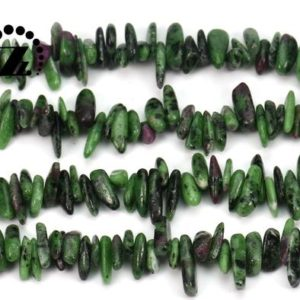 """Ruby Zoisite Smooth Stick Beads, chips Beads, top Drilled Beads, genuine, natural, gemstone, diy Beads, 10-17mm, 15"""" Full Strand 