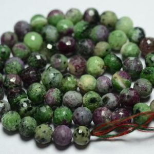 Shop Ruby Zoisite Faceted Beads! 13 Inches Strand Natural Ruby Ziosite Disco Ball Beads 5.5mm to 6mm Faceted Gemstone Balls Beads Rare Ruby Ziosite Beads No4157 | Natural genuine faceted Ruby Zoisite beads for beading and jewelry making.  #jewelry #beads #beadedjewelry #diyjewelry #jewelrymaking #beadstore #beading #affiliate #ad