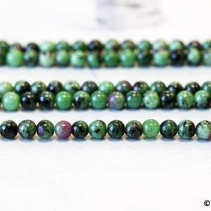 "Shop Ruby Zoisite Round Beads! S/ Ruby Zoisite 6mm/ 4mm/ 3mm Smooth Round Beads 15.5"" strand Natural Mix Ruby Red Green Small Size Beads For Spacer For Jewelry Designs 
