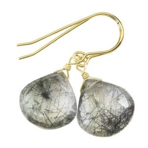 Shop Rutilated Quartz Earrings! Black Tourmalated Rutile Quartz Earrings 14k Solid Yellow Gold Or Filled Or Sterling Silver Rutilated Heart Teardrop Nice Rutilation Simple | Natural genuine Rutilated Quartz earrings. Buy crystal jewelry, handmade handcrafted artisan jewelry for women.  Unique handmade gift ideas. #jewelry #beadedearrings #beadedjewelry #gift #shopping #handmadejewelry #fashion #style #product #earrings #affiliate #ad