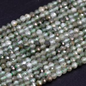 "Shop Rutilated Quartz Faceted Beads! SALE 3MM Green Rutilated Quartz Beads A Genuine Natural Gemstone Full Strand Faceted Round Loose Beads 15.5"" Bulk Lot Options (107816-2535) 