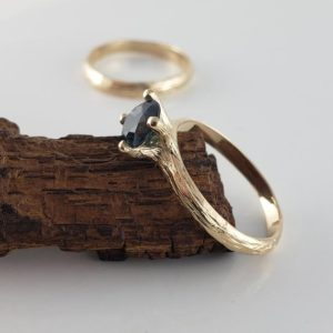 1ct Blue Sapphire Twig Engagement Ring in 14k Yellow Gold, Bridal Set or Solitaire Only Ring by DV Designs | Natural genuine Array rings, simple unique alternative gemstone engagement rings. #rings #jewelry #bridal #wedding #jewelryaccessories #engagementrings #weddingideas #affiliate #ad