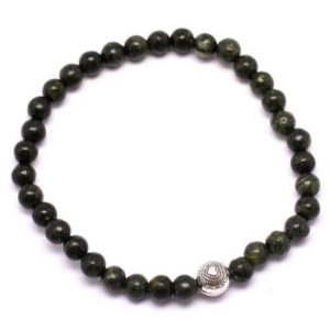 Shop Serpentine Bracelets! Semi precious Serpentine 4 mm and silver Bead Bracelet | Natural genuine Serpentine bracelets. Buy crystal jewelry, handmade handcrafted artisan jewelry for women.  Unique handmade gift ideas. #jewelry #beadedbracelets #beadedjewelry #gift #shopping #handmadejewelry #fashion #style #product #bracelets #affiliate #ad